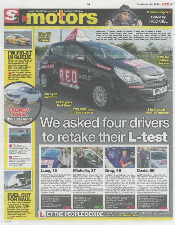 RED and The Sun asked four drivers to retake their #drivingtest to see if they would pass or fail...
