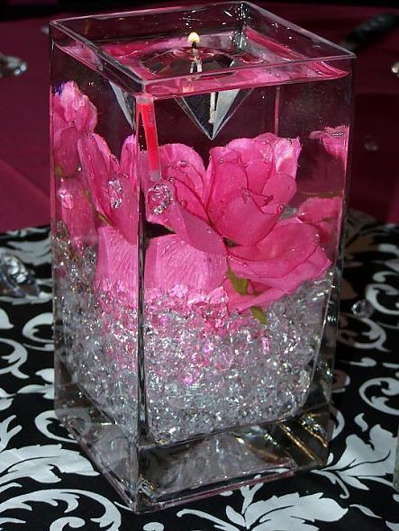 Light up pink and black centerpiece