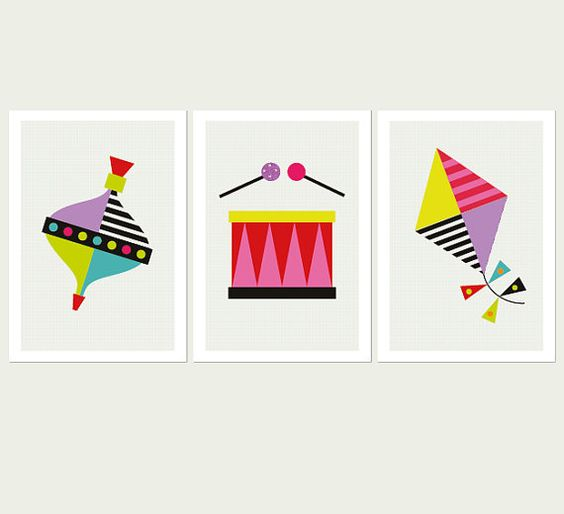 Spinning Top, Drum and Kite Set of Three prints. Nursery Art, Children's Decor, Children's Room Art.Wall Art for Kids