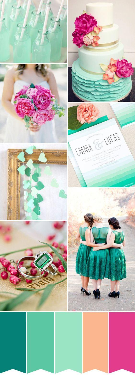 Verde azulado y rosa fucsia. REminiscencias de los años 50. ideasparatuboda.wix.com/planeatuboda