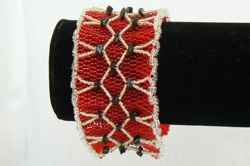 Red Seed Bead with Black Obsidian Chip Bracelet | UzunovJewelryDesigns - Jewelry on ArtFire