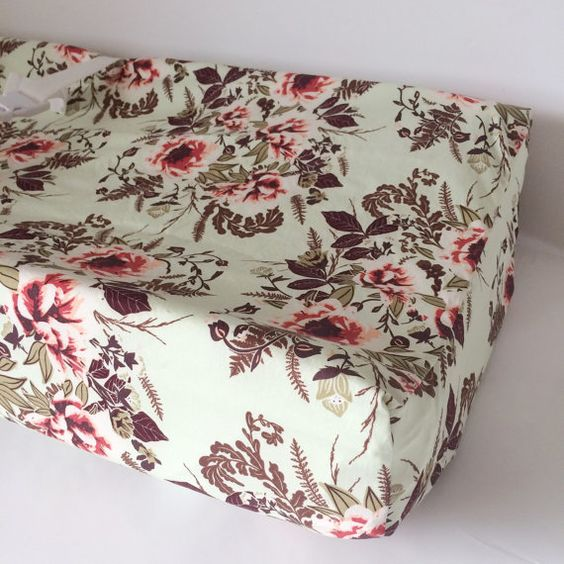Rose Crib Sheets  Changing Pad Covers / Vintage Floral by Babiease