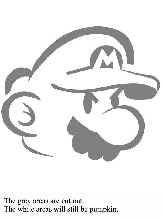 Mario bross pattern pumpkin carving for halloween diy
