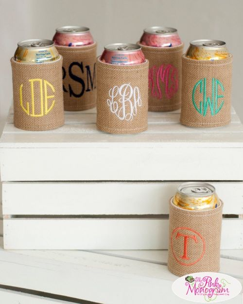 Monogrammed Burlap Drink Koozies are the perfect way to enjoy the beach. How cute are these monogrammed koozies.: