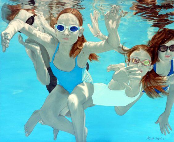 """Cherubini"" by Nina Nolte, acrylic on canvas, 110 x 140 cm (45 x 55 inch)"