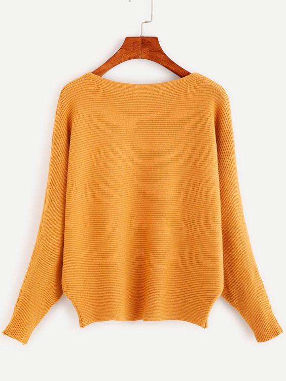 Pullover Fledemausärmel -khaki - German SheIn(Sheinside)