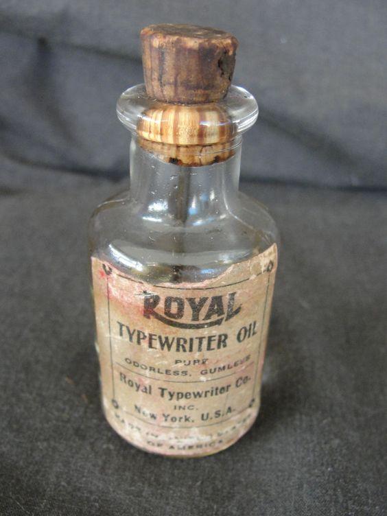 Antique Royal Manual Typewriter Oil Glass Bottle w/ cork Paper Label