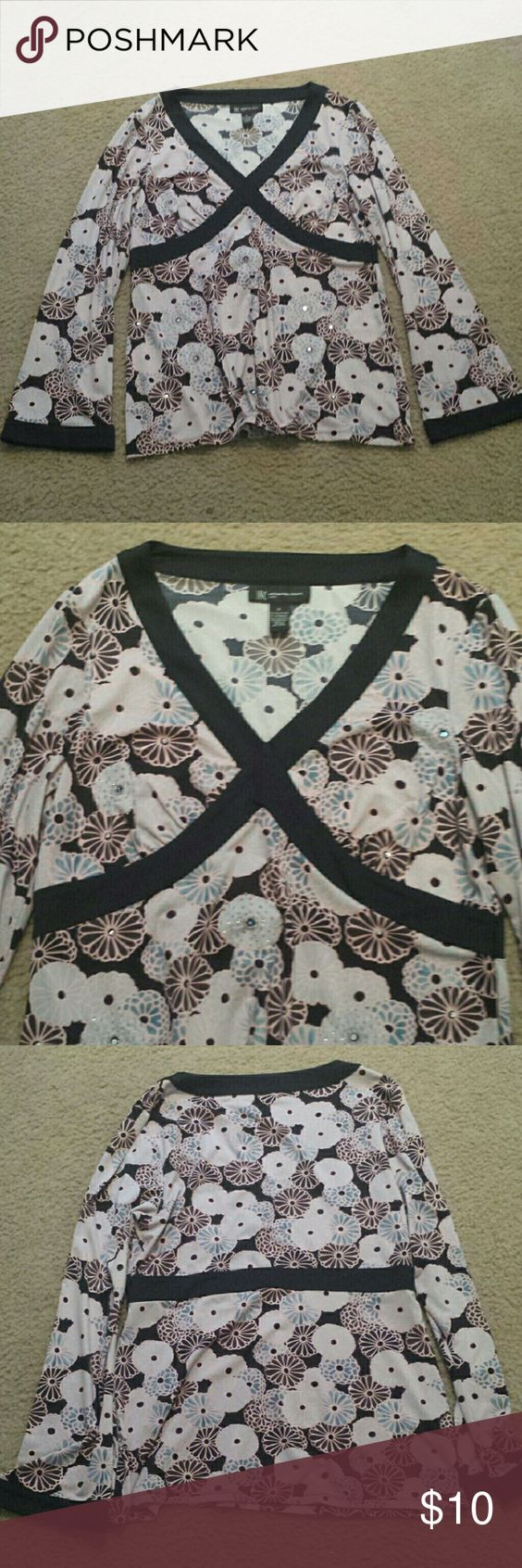 3 FOR $11 SALE INC International Concepts shirt In good used condition, smoke-free and pet-free home, no pulls, rips or stains, has beading on it, petite, INC International Concepts Tops