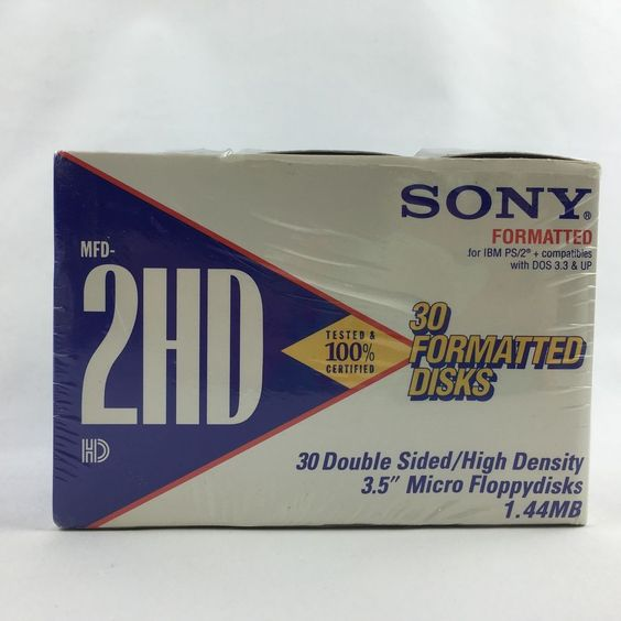 "Sony 2HD 1 44MB 3 5"" Floppy Disks Formatted Double Sided Box of 30 Disks 