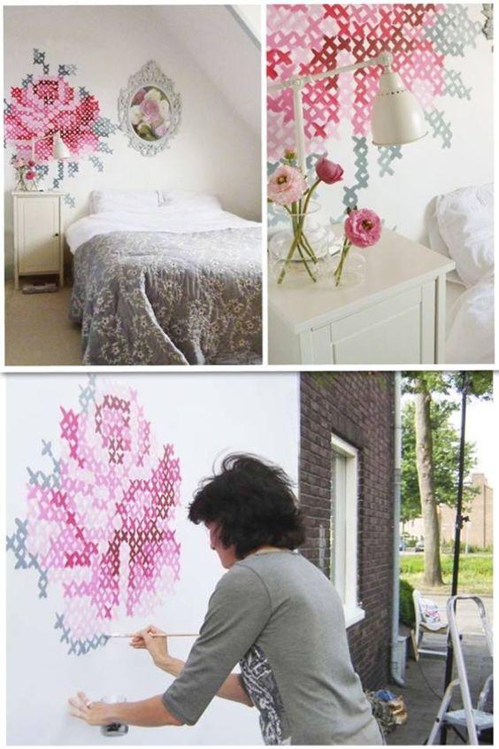 Wandbild wie gestickt
