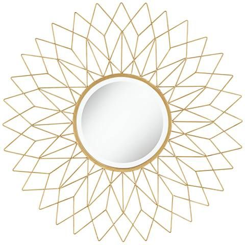 Noelle Gold 38 1 2 Round Oversized Metal Wall Mirror 23v32 Lamps Plus Gold Mirror Wall Geometric Mirror Round Gold Mirror