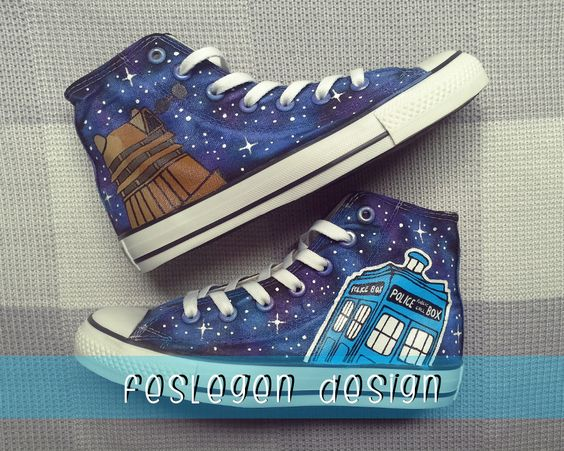 Doctor Who Tardis and Dalek Custom Painted Converse Shoes
