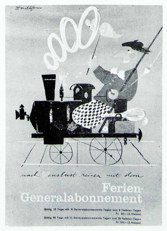 1957 Print Donald Brun Art Advertising Poster Swiss Railway Railroad Train VENA1: