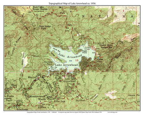 map of lake arrowhead Lake Arrowhead 1956 Custom Usgs Old Topo Map California map of lake arrowhead