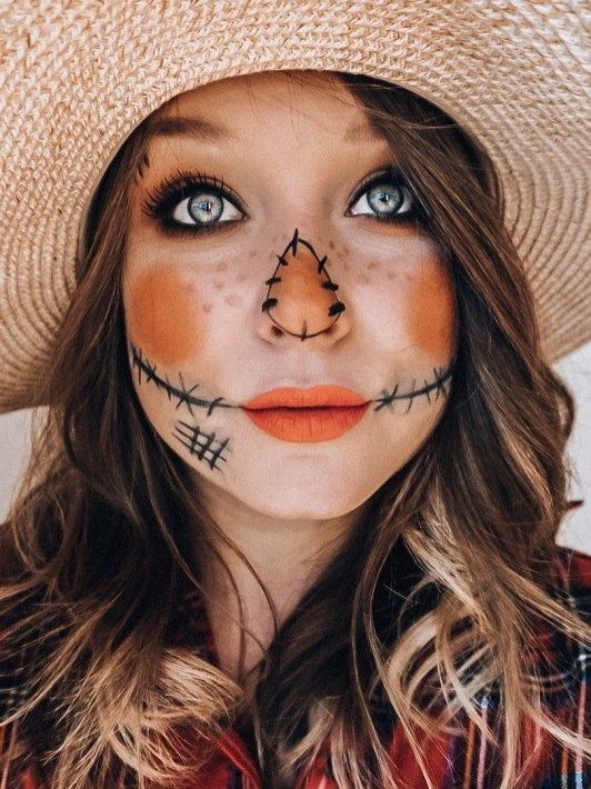 Easy Scarecrow Face Paint : scarecrow, paint, Scarecrow, Makeup, Minute, Halloween, Costume, Ideas, Costumes, Scarecrow,, Makeup,