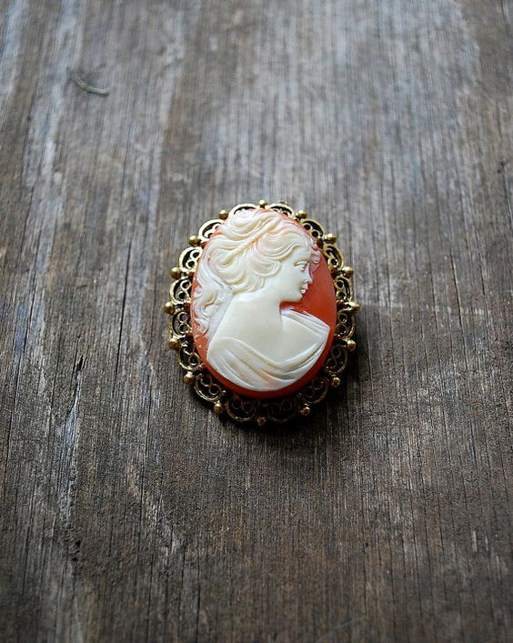 Vintage CAMEO brooch / Cameo pendant by TheDuskyJewelVintage, $18.00