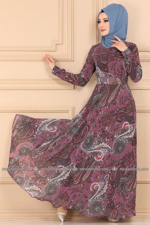 Modaselvim Elbise Desenli Sifon Tesettur Elbise 204al357 Gul Kurusu The Dress Elbise Elbiseler