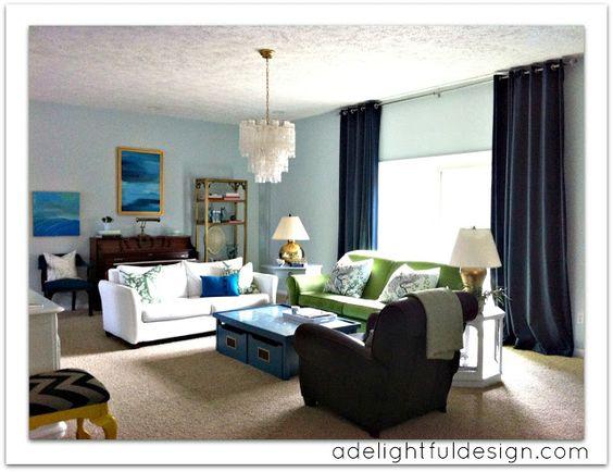 A Delightful Design: before & after: our green velvet sofa