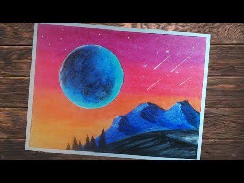Cara Menggambar Pemandangan Langit Malam Yang Indah Gambar Menggunakan Cara Menggambar Painting Seni