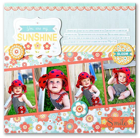 #papercraft #scrapbook #layout.  adornit.com: Sunshine with Ginger