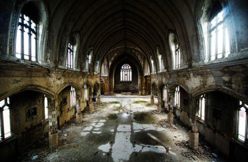 The interior of the abandoned Martyrs of Uganda Catholic Church, Detroit, Michigan