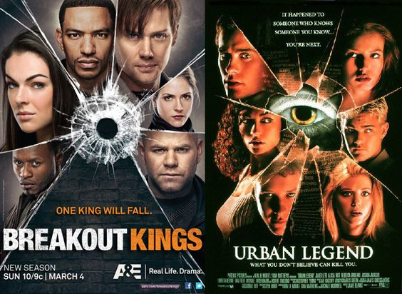 Movie poster copy cattery worthy of @joelapompe: Breakout Kings v. Urban Legend.