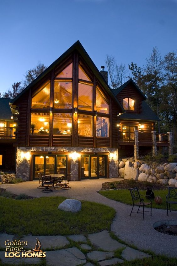 Log log golden eagle and log homes on pinterest for Log cabin floor plans with walkout basement