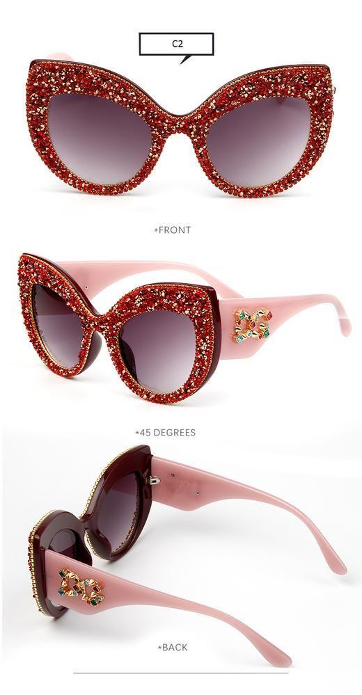 Cat Eye Sunglasses Luxury Vintage Rhinestone Shades Female Eyewear Women Fashion