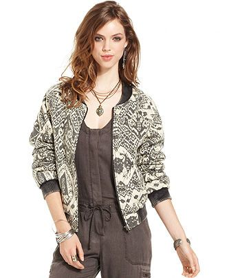 Free People Printed Bomber Jacket - Jackets &amp Blazers - Women
