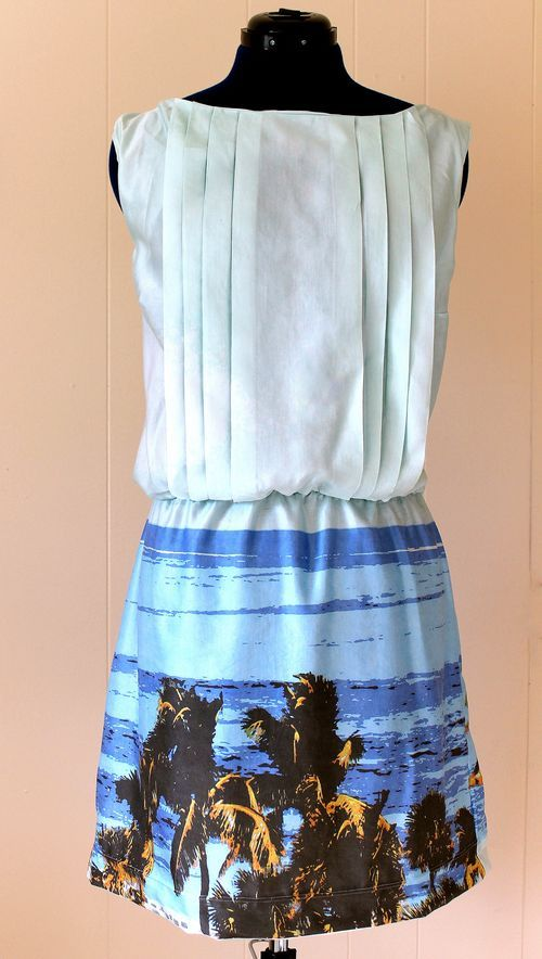 Photo print dress created by Emma Jeffery using one of her own vacation photos and printed using Spoonflower.