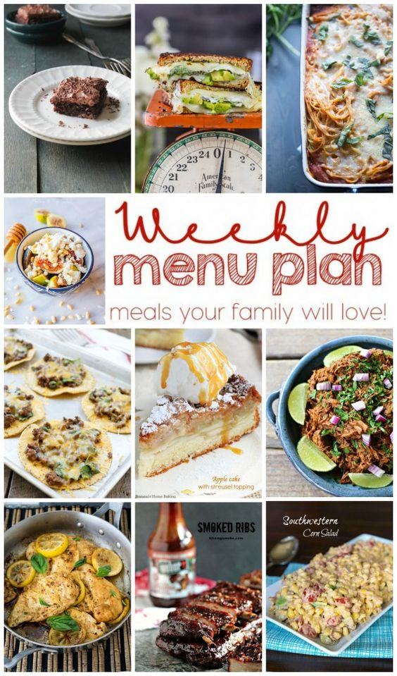 Weekly Meal Plan - Your Weekly Meal Plan is here! 6 dinner recipes, 2 side dishes and 2 desserts to make a quick, easy, and delicious week! Read more at http://diethood.com