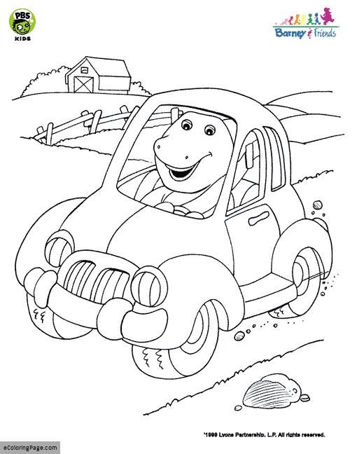 Dinosaur Barney Driving Coloring Page Dinosaur Coloring Pages