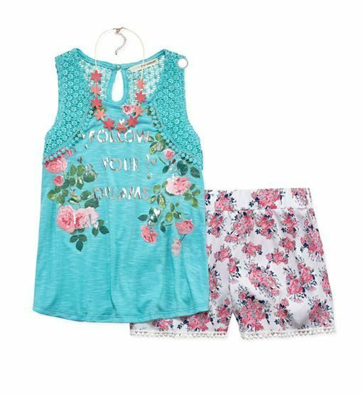 Girls Hoodie Sleeveless Top Floral Legging Pants Necklace Clothing Set Size 4-14