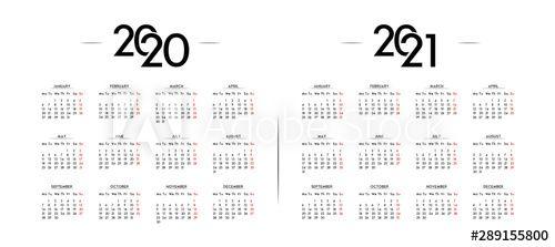 English Minimalist Calendar Year 2020 And 2021 In 2020 Minimalist Calendar Yearly Calendar Calendar