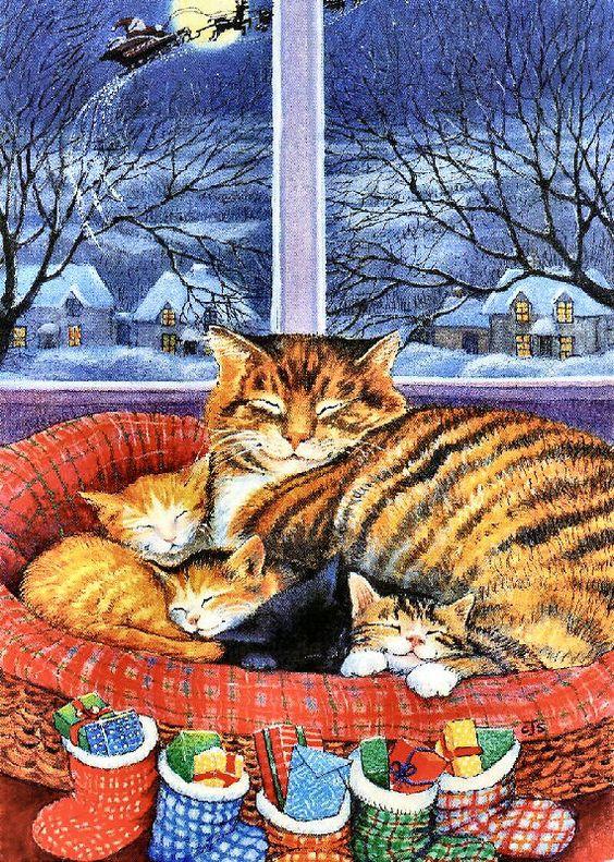 Chrissie Snelling  (b.1956) — Christmas Cat   & Kittens (570×800):