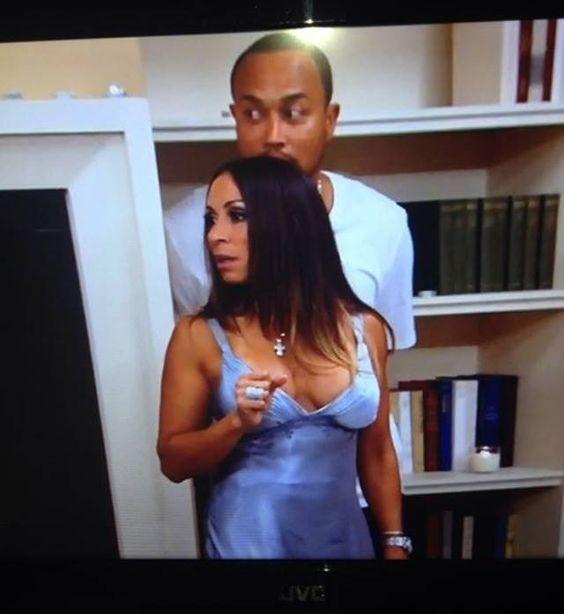 """Big Homie"" Chuck hiding behind his wife during RHOA's fight last night."