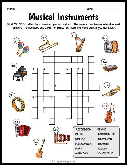 Free Printable Musical Instruments Crossword Musicalinstruments