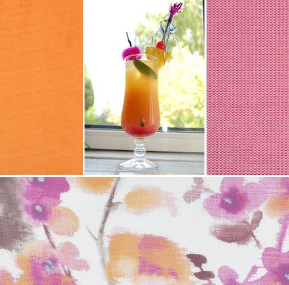 Dress up your Tequila Sunrise with some appropriate colour coordinated fabrics (clockwise from top right) Dalarna #7 Geranium, Sunburst #17 Cocktail and Chillaz #8 Carrot.