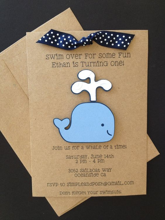 Blue Whale Invitations Custom Made for Kid's Birthday Party or Baby Shower on Kraft Paper, Set of 8 Invites