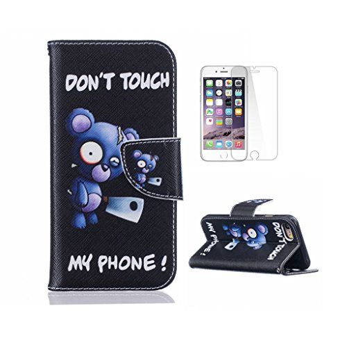 iPhone 7 Plus Case [With Tempered Glass Screen Protector],Fatcatparadise(TM) Anti Scratch Flip Soft Silicone Back Cover Case ,Stylish Printed Cute Colorful Pattern Magnetic Detachable Premium PU Leather Folio Book stytle Credit Card Holder Wallet Embedded Case Cover For iPhone 7 Plus(Blue Bear)