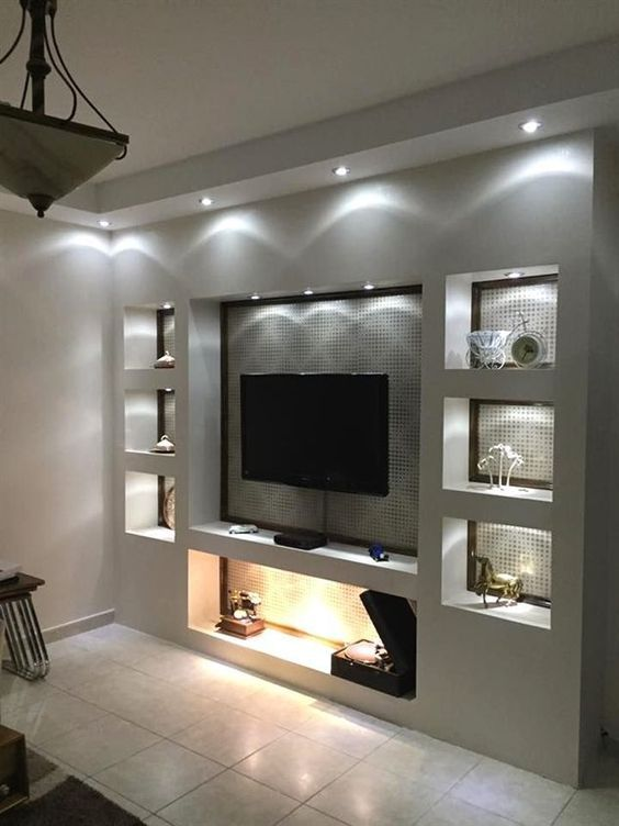 Living Room Shelves Lights The Beauty And Comfort Of The Ideal