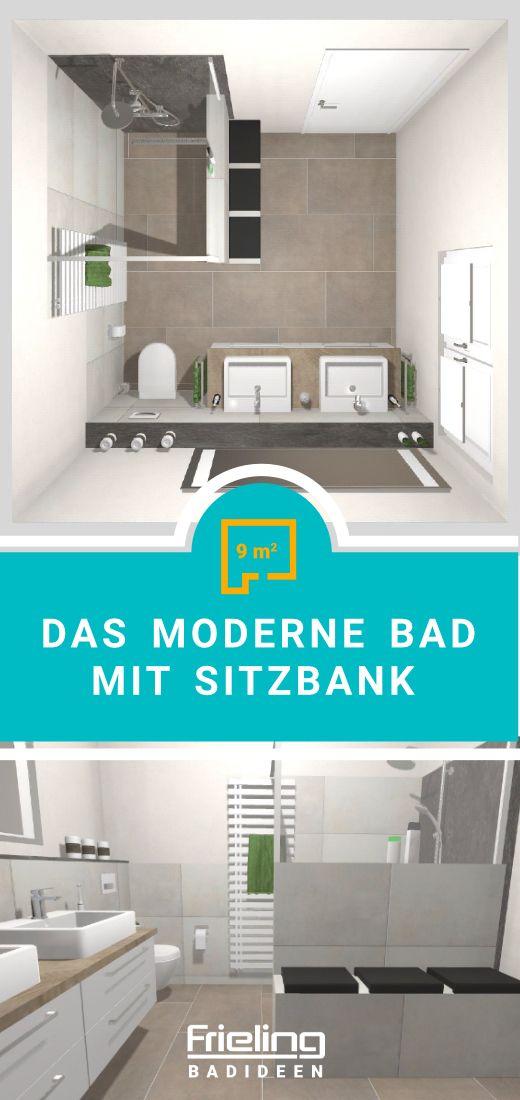 Das Moderne Bad Mit Sitzbank 9 Qm Badezimmer Grundriss Moderne Bader Gaste Wc Modern