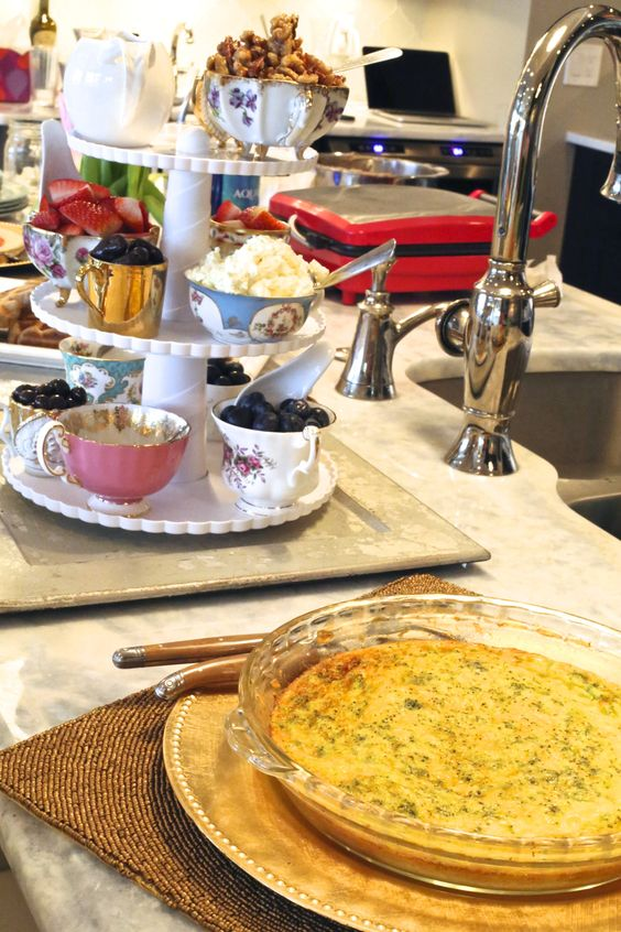 brunch idea make a waffle bar using fixings stored in teacups.  Broccoli and cheddar quiche is a great fit.