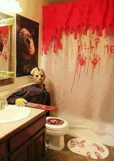 Love the halloween bathroom decor