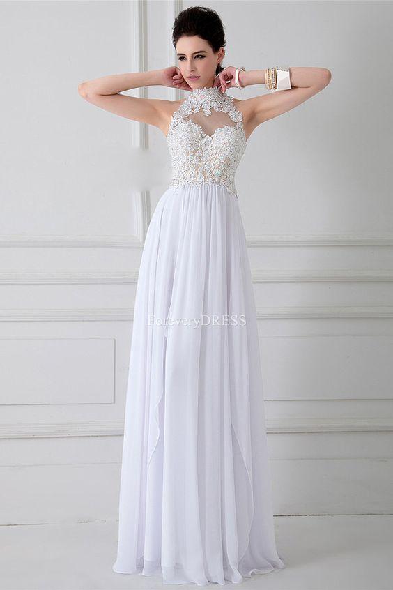 Fantasía elegante de cuello alto blanco Appliqued gasa vestido de noche bastante larga