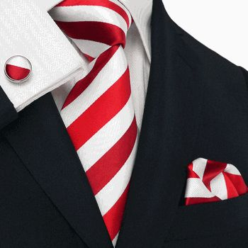 Men's Red & White Stripes Silk Tie Set: