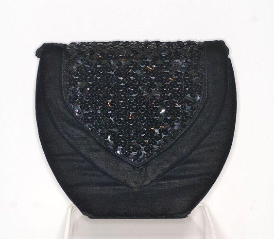 1980s Yves Saint Laurent black velvet and black sequin clutch