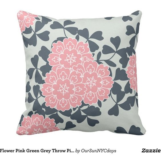 Flower Pink Green Grey Throw Pillow (43 CAD) ❤ liked on Polyvore featuring home, home decor, throw pillows, decor, green throw pillows, gray accent pillows, gray throw pillows, pink accent pillows and pink throw pillows