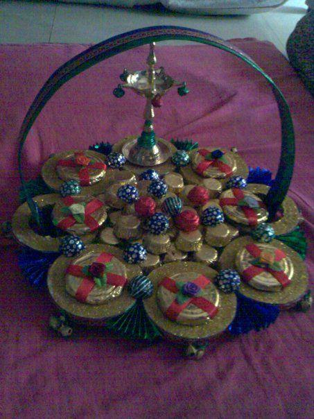 Chocolate plater centre piece made sply for a bharatnatyam for Arangetram decoration ideas