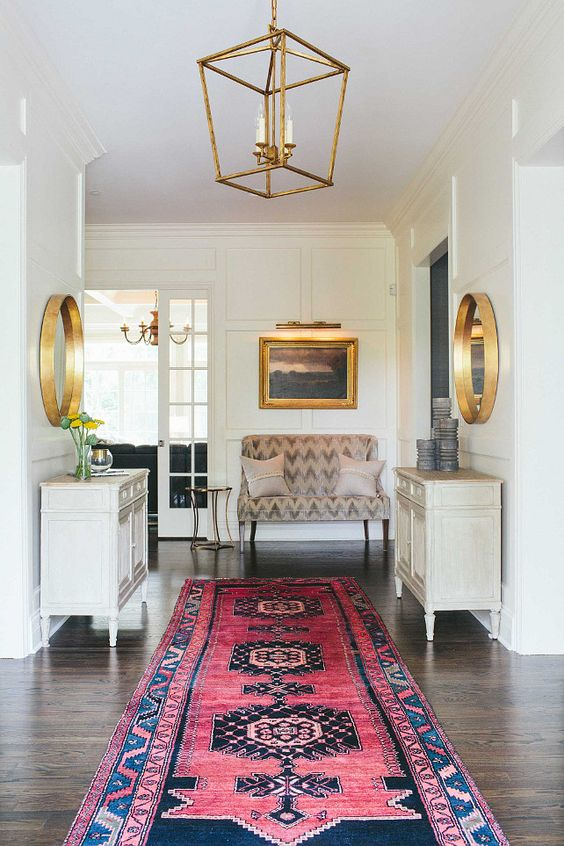 Foyer runner. Foyer runner ideas. Foyer runner. The foyer lighting is the Restoration Hardware 19Th C. English Openwork Pendant - Gilded Iron. #Foyer #runner #FoyerRunner Kate Marker Interiors.: